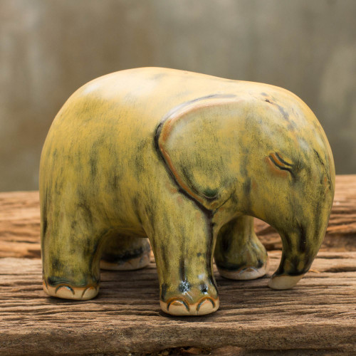 Mottled Yellow Celadon Ceramic Figurine 'Yellow Elephant'