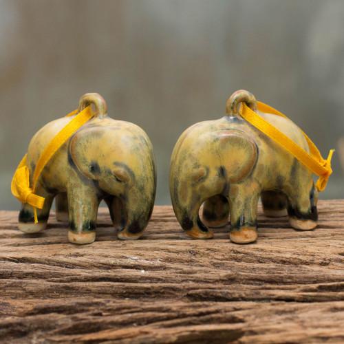 Mottled Yellow Celadon Ceramic Ornaments Pair 'Yellow Elephant'