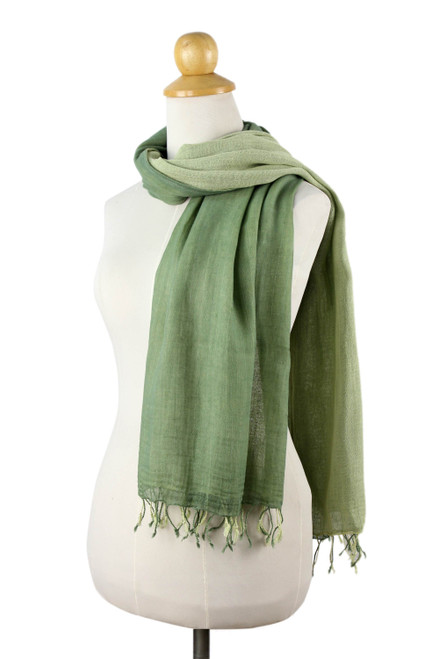 2-in-1 Hand-woven Cotton Reversible Scarf 'Jade Green Duet'