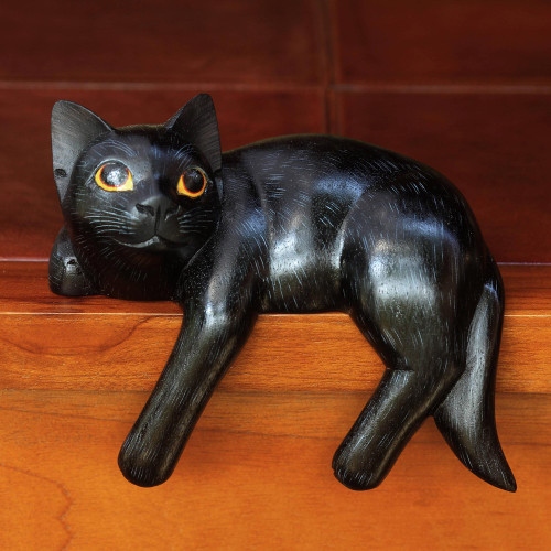 Signed Balinese Black Cat Sculpture 'Black Cat Relaxes'