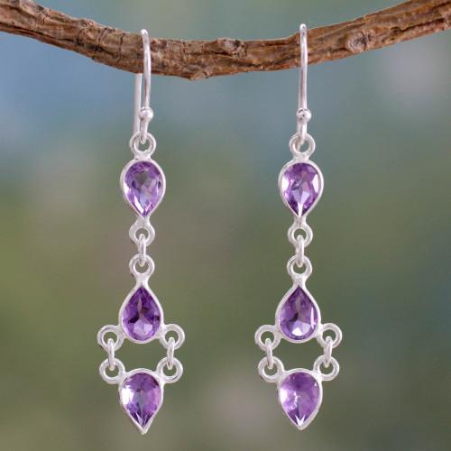 Amethyst and Sterling Silver Indian Earrings 'Mystic Wonder'