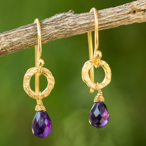Fair Trade Gold Plated Earrings with Amethysts 'Lilac Suns'