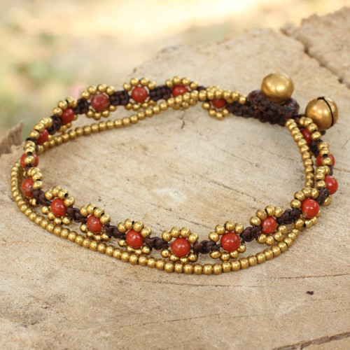 Hand Knotted Beaded Bracelet with Jasper and Brass Bells 'Fiery Sky'