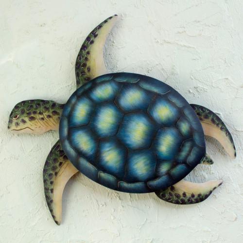 Handmade Green Turtle Wall Sculpture 'Sea Turtle'