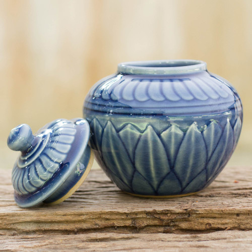 Thai Blue Floral Celadon Jar and Lid 'Blue Lotus'
