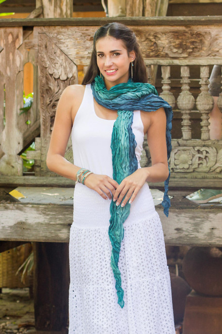 Teal Ombre Crinkled All-Silk Scarf from Thailand 'Summer Rain'