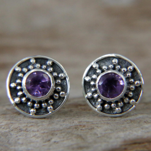 Amethyst and Sterling Silver Stud Earrings from Bali 'Winter Halo'