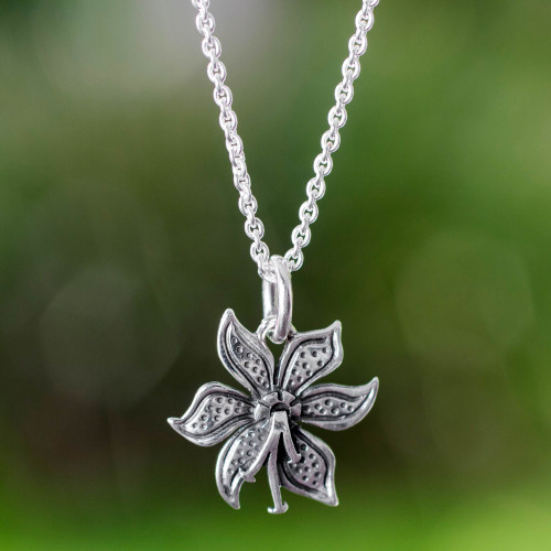 Hand Crafted Sterling Silver Taxco Flower Pendant Necklace 'Springtime'