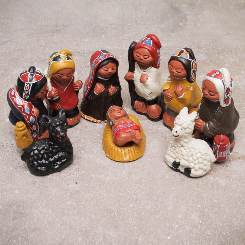 Andean 10-Piece Ceramic Nativity Scene Set 'Christmas Peace'