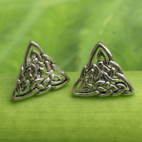 Celtic Triangle Knot Button Earrings in Sterling Silver 'Celtic Triangle'