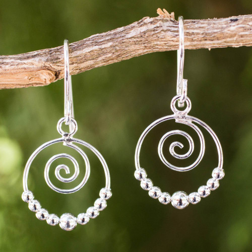 Handcrafted Sterling Silver Dangle Earrings with Spirals 'Whirl'