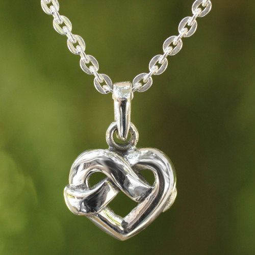 Heart Shaped Knot Sterling Silver Pendant Necklace 'With Love'