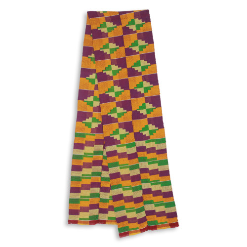 Two Strips Handwoven Yellow and Purple African Kente Scarf 'Wisdom for Two'