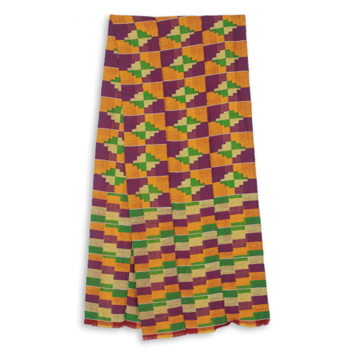 Three Strips Handwoven Yellow and Purple African Kente Scarf 'Wisdom for Two'