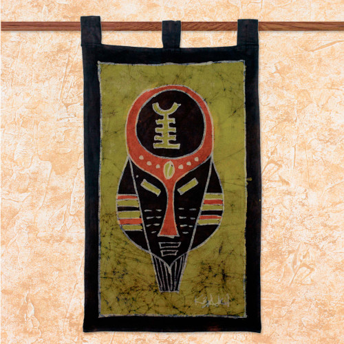 Handcrafted Cotton Batik Wall Hanging from Ghana 'Battle Cry'