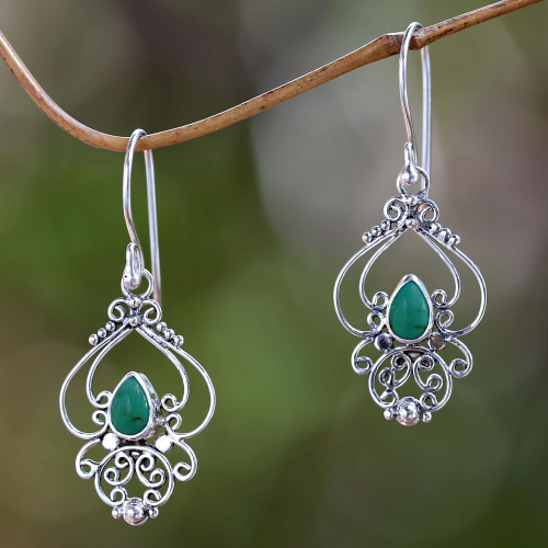 Ornate Natural Turquoise Dangle Earrings from Bali 'Turquoise Arabesque'