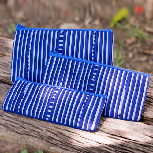 Thai Blue and White Cotton Blend Cosmetic Cases Set of 3 'Blue Lisu Chic'
