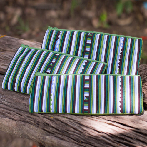 Handmade Cotton Blend Striped Cosmetic Cases Set of 3 'Green Lisu Chic'