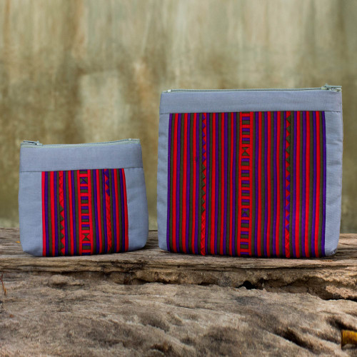 Artisan Crafted Cotton Blend Multicolor Makeup Cases Pair 'Exotic Lisu in Gray'