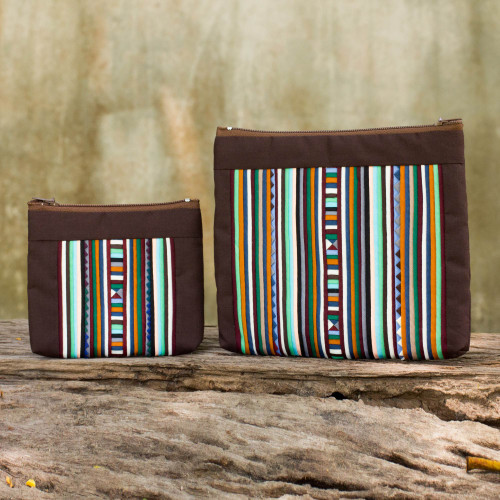 Hill Tribe Style Cotton Blend Cosmetic Bags pair 'Exotic Lisu in Brown'