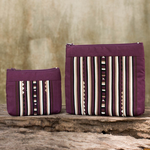 Maroon Cotton Blend Cosmetic Cases from Thailand pair 'Exotic Lisu in Wine'
