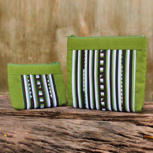 Fair Trade Lime Green Cotton Blend Makeup Bags pair 'Exotic Lisu in Lime Green'