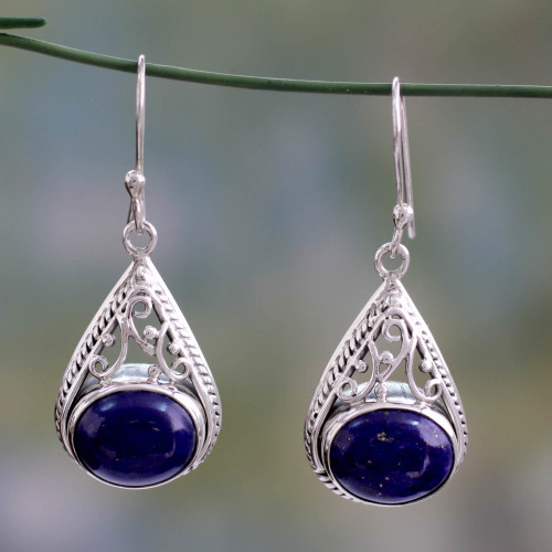 Fair Trade Lapis Lazuli and Sterling Silver Earrings 'Royal Grandeur'
