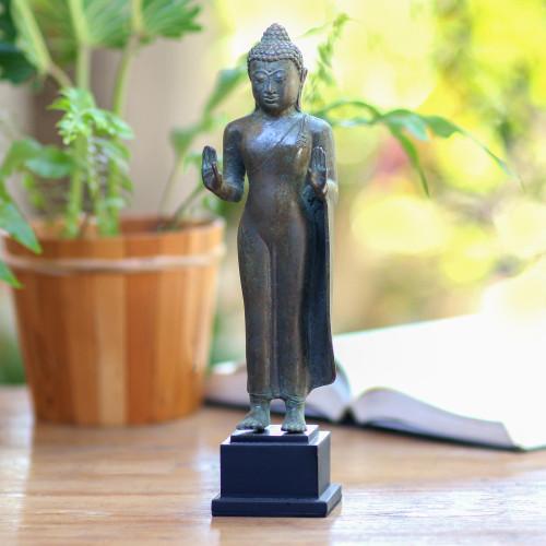 Bronze Buddha Statuette from Bali 'Abhaya Mudra Buddha'