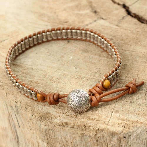 Hand Made Leather Wristband Bracelet with Hill Tribe Silver 'Ethnic Chic'
