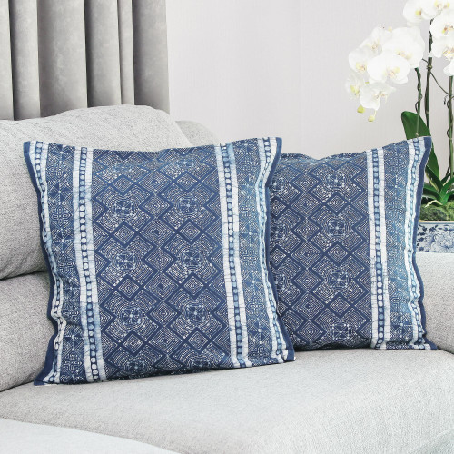 Thai Artisan Crafted Blue Batik Cotton Pillow Covers pair 'Hmong Energy'