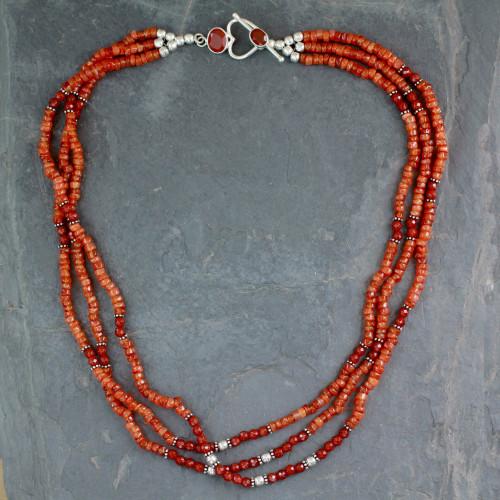 Fair Trade Beaded Carnelian Multi-Strand Necklace 'Sunset Glee'
