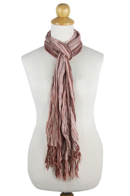 Handwoven Crinkled Cotton Striped Scarf from Thailand 'Sandy Paths'