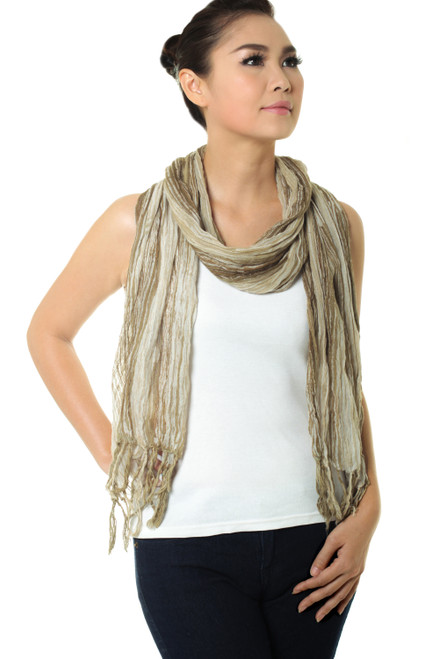 Hand Dyed Olive Green and White Cotton Gauze Scarf 'Olive Paths'