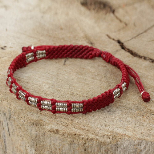 Thai Braided Red Cord Bracelet with 950 Silver Beads 'Affinity in Red'