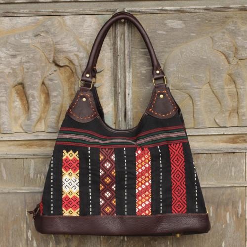 Naga Tribe Handmade Cotton and Leather Shoulder Bag 'Naga Weave'