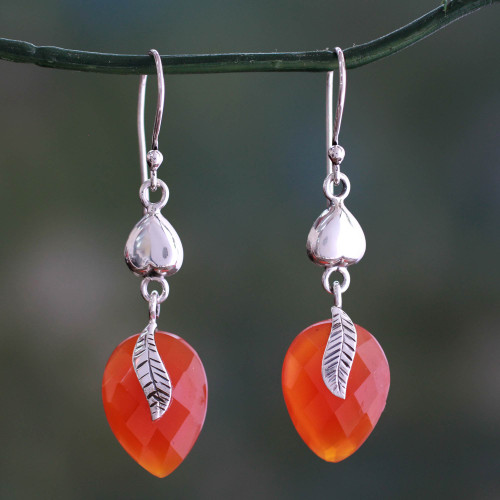 Sterling Silver and Carnelian Leaf Dangle Earrings 'Dawning Nature'