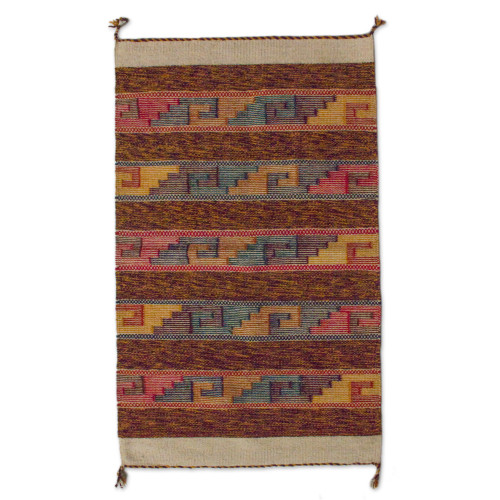 Fair Trade Hand Woven Wool Rug with Zapotec Glyphs 2x3.5 'Sky Stairway'