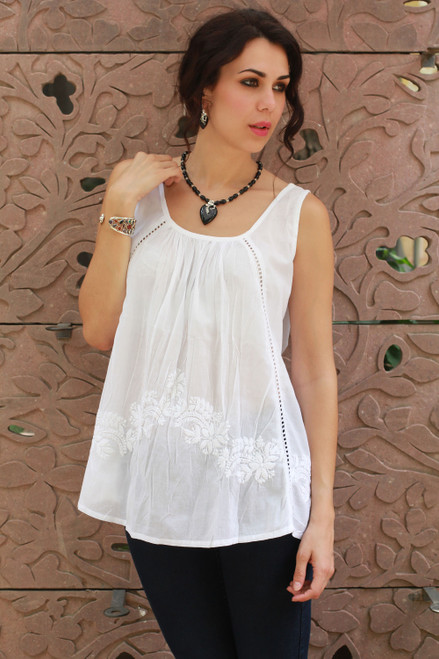 Hand Embroidered Sleeveless White Cotton Smock Top 'Floral Whisper'