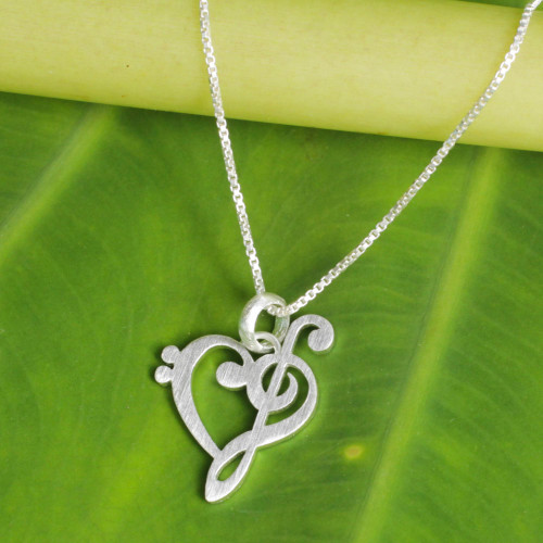 Artisan Crafted Brushed Silver Music Theme Necklace 'Music of Love'