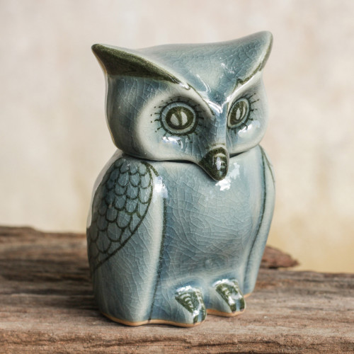 Artisan Crafted Small Blue Ceramic Owl Storage Jar 'Happy Blue Owl'