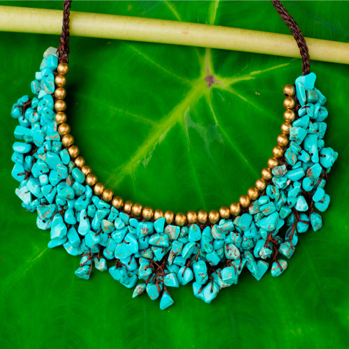 Turquoise Colored Calcite and Brass Beaded Necklace 'Pool Party'