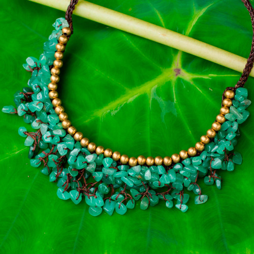 Beaded Cord Necklace with Green Aventurine and Brass 'Garden Party'