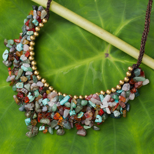 Multicolor Gemstone Chip Necklace with Brass Accents 'Festive Party'