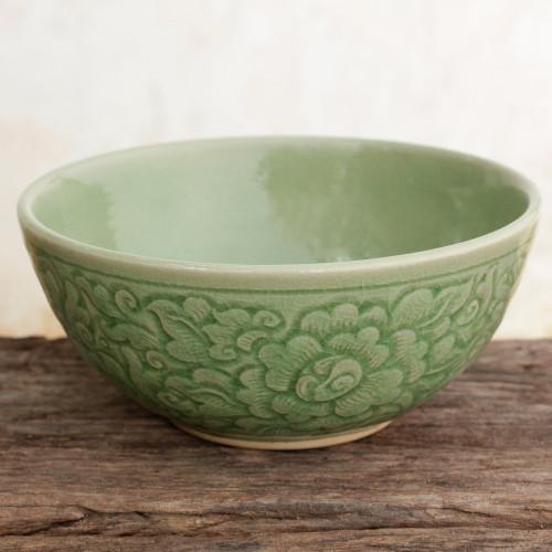 Artisan Crafted Floral Theme Thai Celadon Ceramic Bowl 'Green Peony'