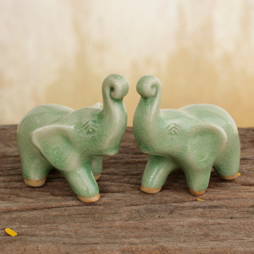 2 Green Celadon Ceramic Handcrafted Lucky Elephant Figurines 'Lucky Green Elephants'