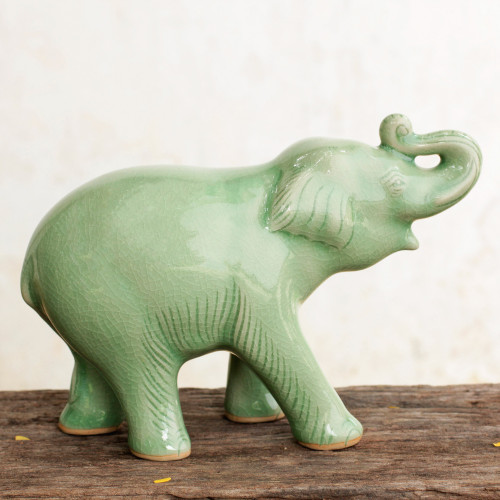 Thai Artisan Crafted Celadon Ceramic Elephant Figurine 'Laughing Elephant'