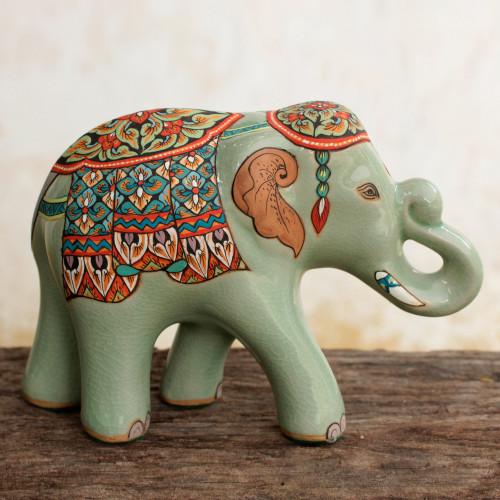 Thai Celadon Hand Painted Ceramic Elephant Statuette Large 'Smiling Royal Elephant'