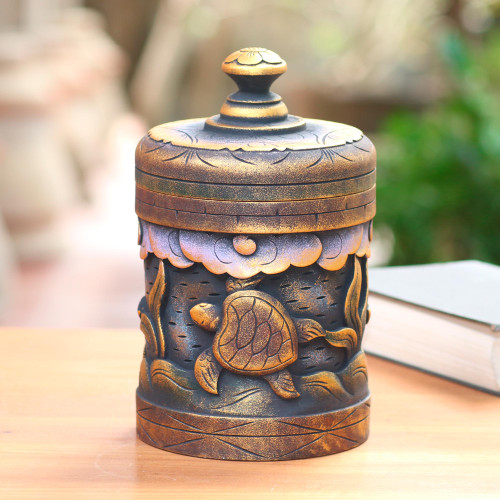 Handmade Mahogany Turtle Motif Lidded Box from Bali 'Turtle Paradise'