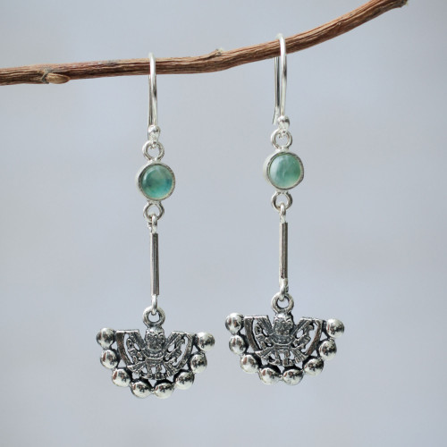 Inca Glyph Earrings with Andean Opal and 925 Sterling Silver 'Inca Iridescent'