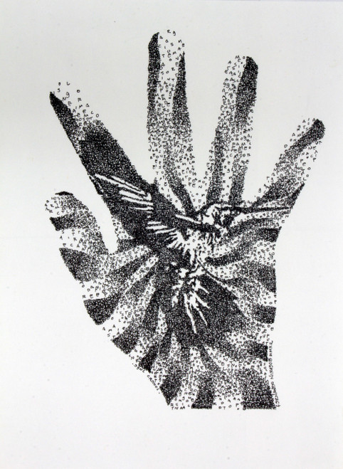 Abstract Hummingbird on Hand Black and White Painting 'Sync Cronos'